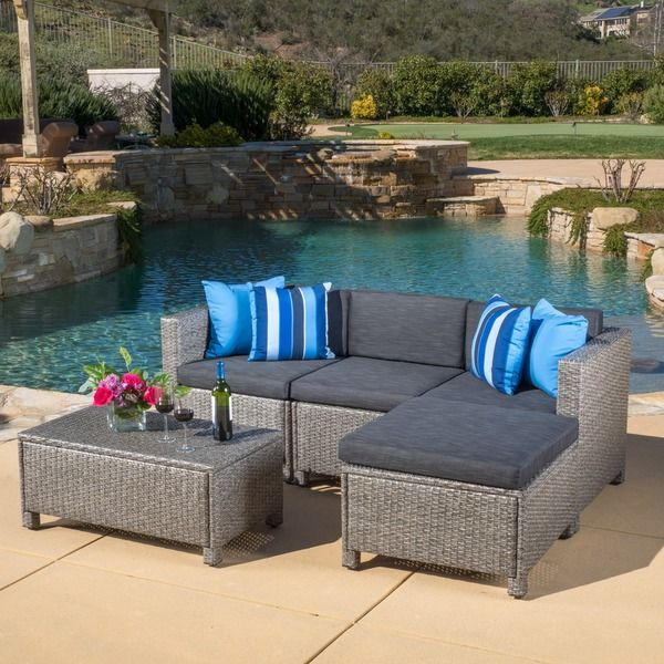 Overstock.com | Christopher Knight Home Outdoor Puerta 5-piece Wicker Sectional Sofa Set with Cushions | $640