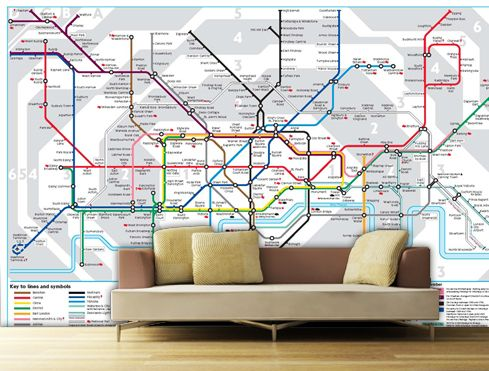 Subway Map Wall Art Wall Art Stickers Wall Decal Huge Underground Tube Map.Details About London Underground Tube Map Wallpaper Wall Mural