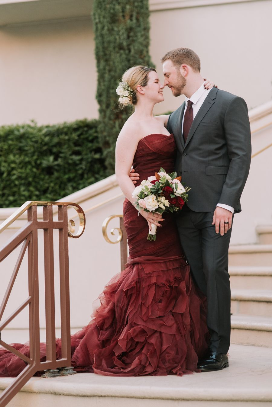 Dark red wedding dress - Adorable couple as well.   Colored Wedding ...