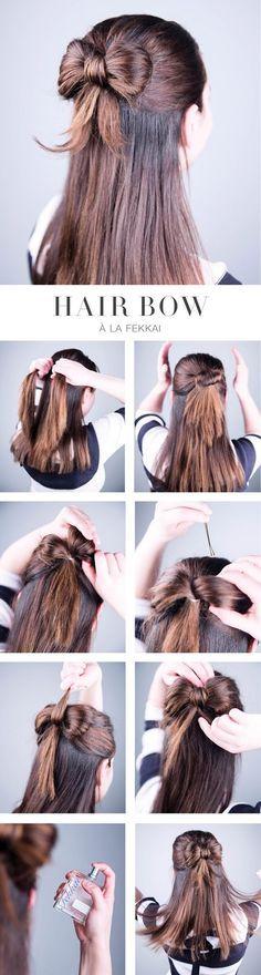 Penteado simples e delicado com laço , ótimos para o dia a dia ou até mesmo uma festa