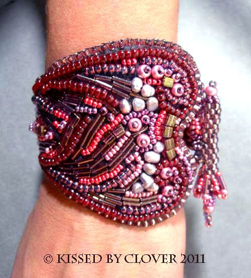 Chunky boho chic bracelet cool beadwoven cuff by Kissedbyclover, $125.00