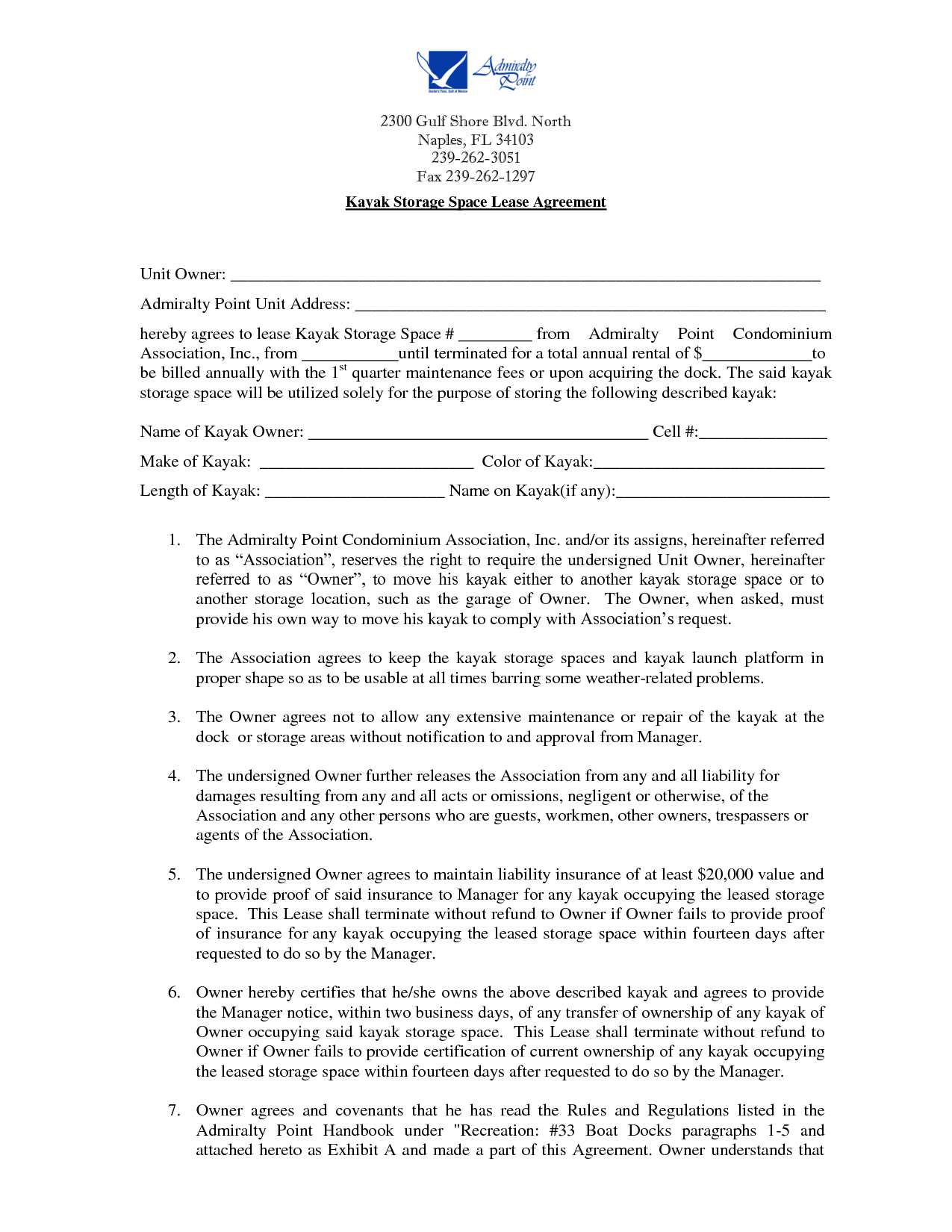 Storage Lease Agreement Contract template, Lease