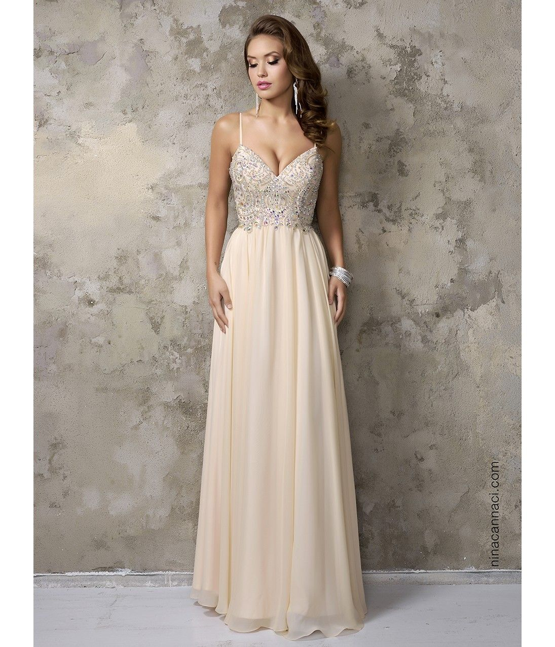 Champagne chiffon vneck embellished long prom dress prom ideas