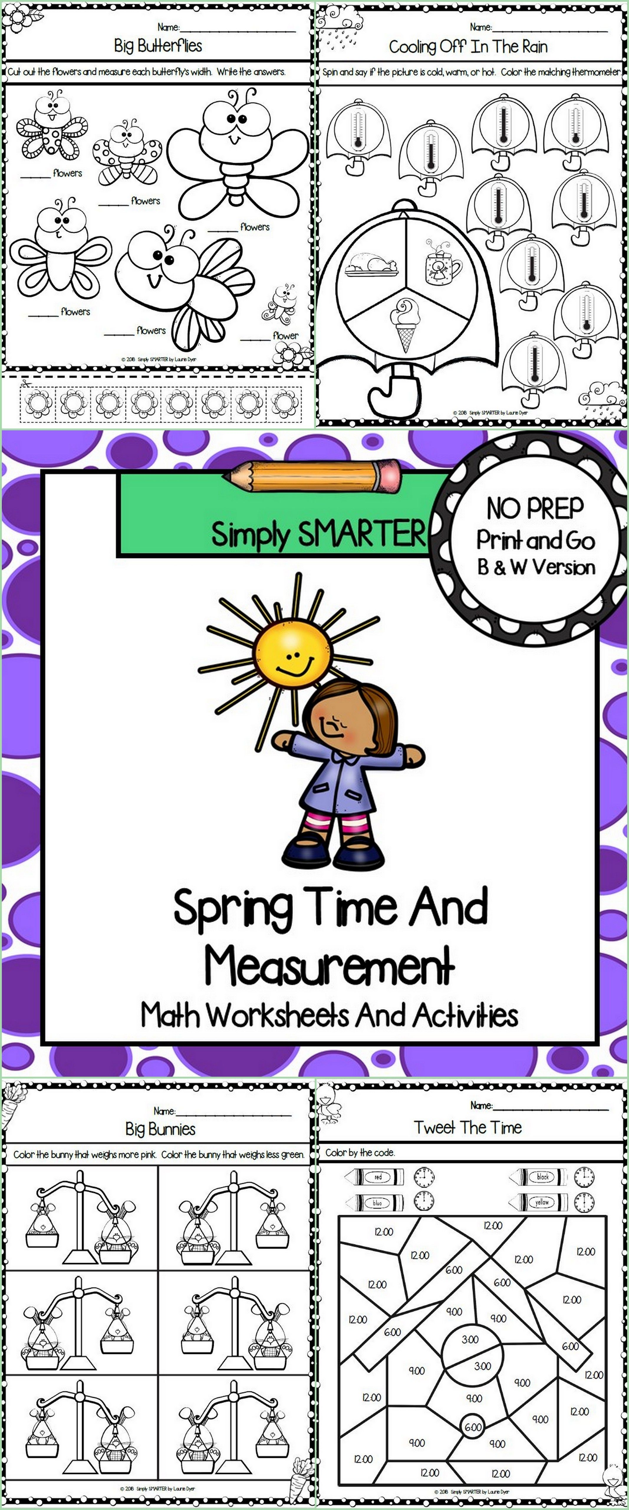 Spring Themed Kindergarten Time And Measurement Math