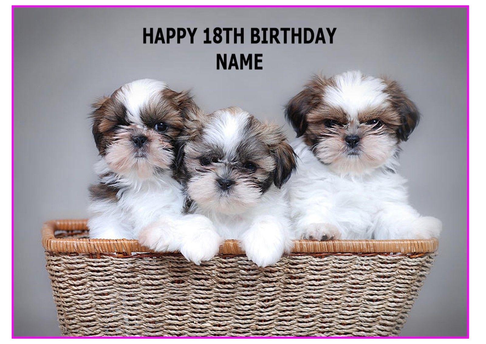 Shih Tzu Cute Dog Pup A4 Rectangle Cake Topper Wafer Card Rice