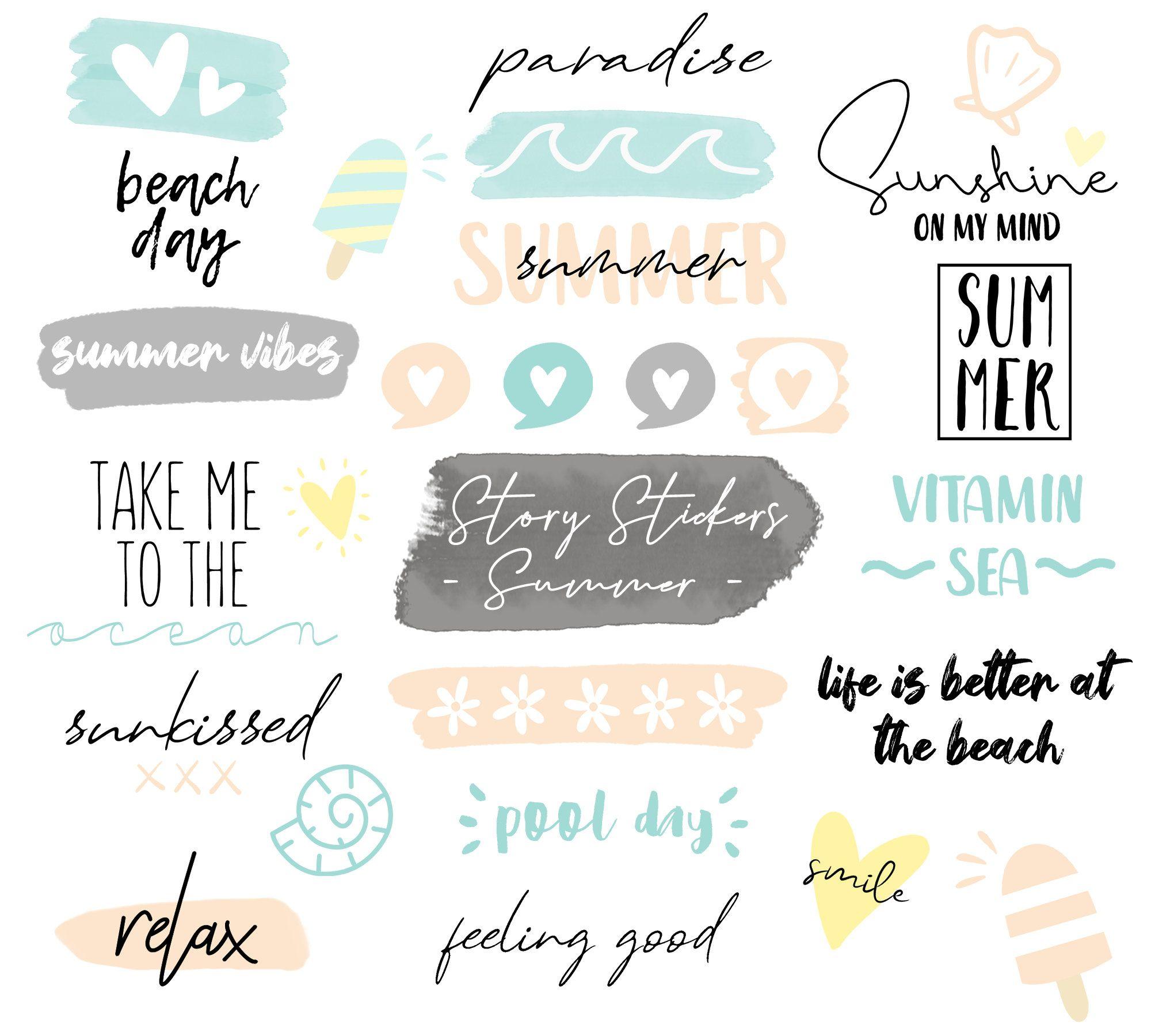 Story Sticker English Instagram Story Sticker Summer Story Sticker 50 Sticker Instagram Story Summer Instagram Instagram