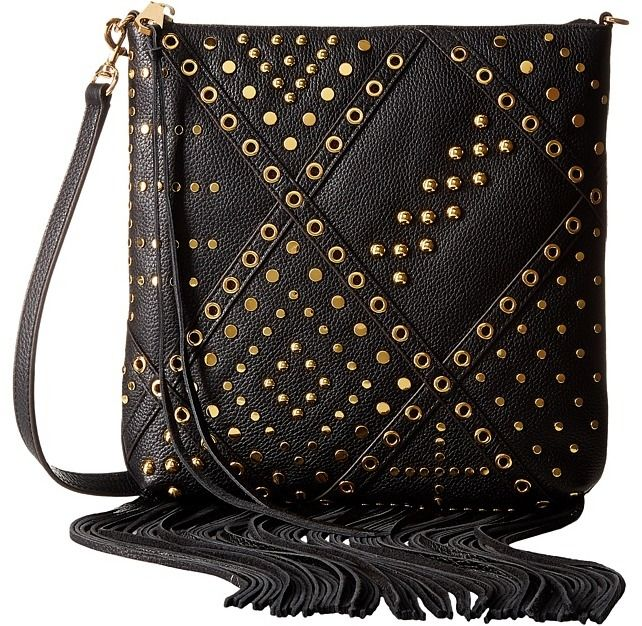 Rebecca Minkoff Jemma Crossbody with Studs - Rock out with stunning style when you flaunt this Rebecca Minkoff Jemma Crossbody with Studs bag. ; Made of leather with fringe, stud and grommet detail. ; Zipper closure. ; Detachable, adjustable shoulder strap. ; Signature logo detail in back. ; Lining made of textile. ; Imported. Measurements: ; Bottom Width: 10 in ; Depth: 1 in ; Height: 11 in ; Strap Length: 44 1 2 in ; Strap Drop: 21 1 2 in ; Weight: 1 lb 2 oz ; This product may have a…