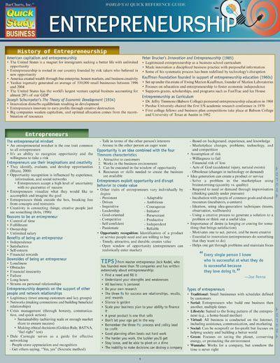 Entrepreneurship Laminated Reference Guide Entrepreneurship