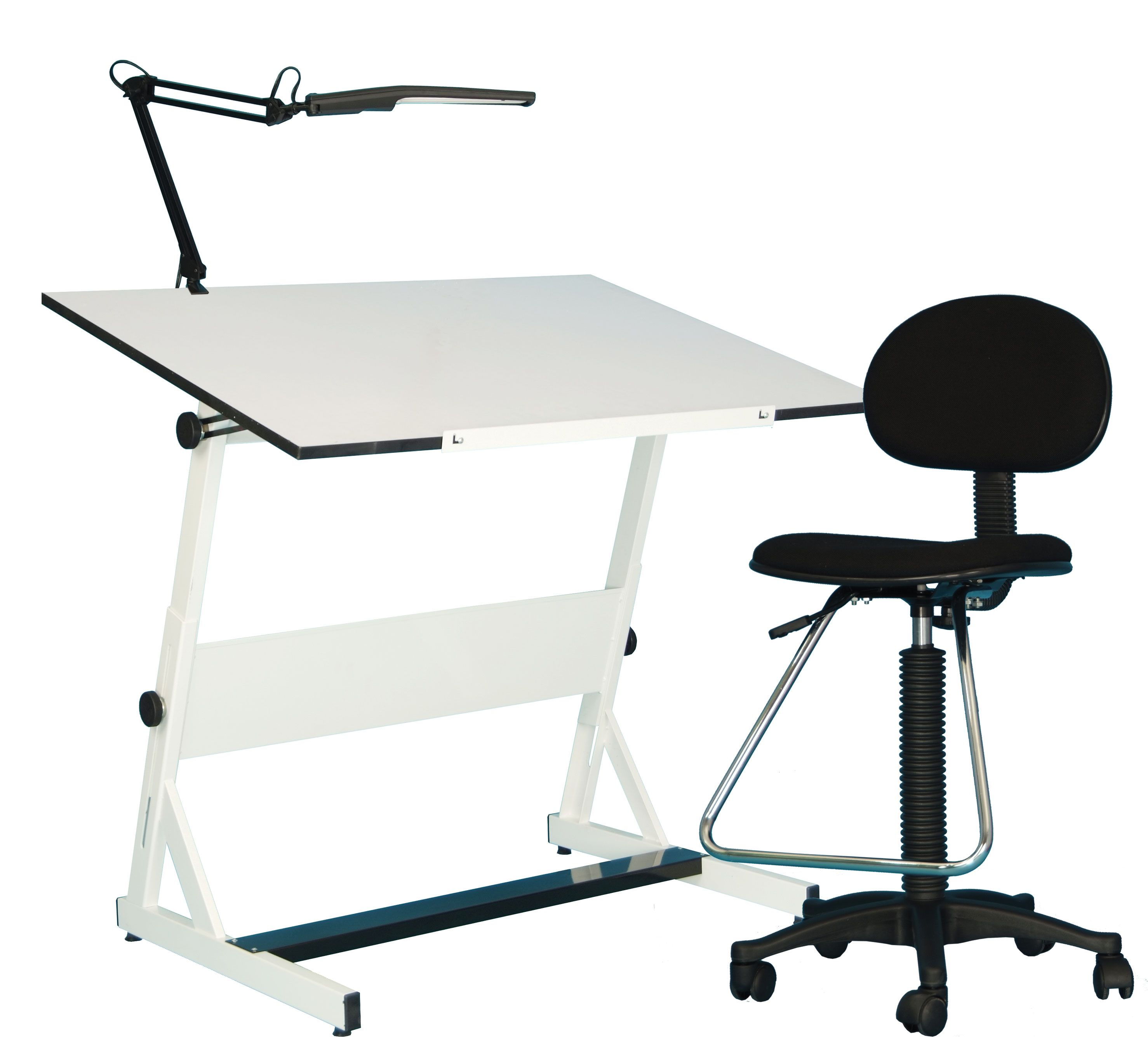Charming Save On Discount Utrecht 3 Piece Contemporary Drafting Table Set With  Chair, Lamp U0026 More