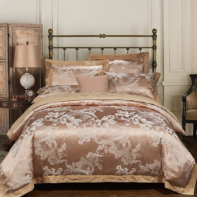 Luxury Bedding Sets Embroidered Wedding Duvet Cover Set Jacquard Bedspreads  Satin Sheets Bed In A Bag