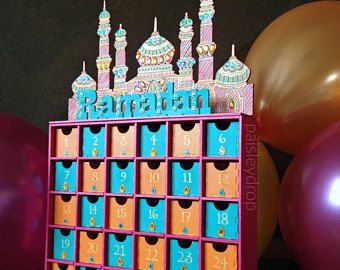 Sunset Ramadan Mosque Advent Calendar Mdf Gold Pink Teal Orange