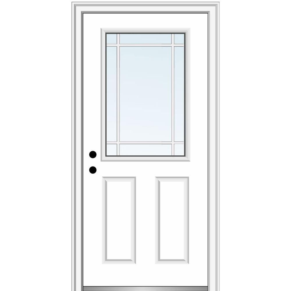 Mmi Door 36 In X 80 In Prairie Internal Muntins Right Hand Inswing 1 2 Lite Clear 2 Panel Painted Steel Prehu In 2020 Painted Paneling Front Entry Doors House Design