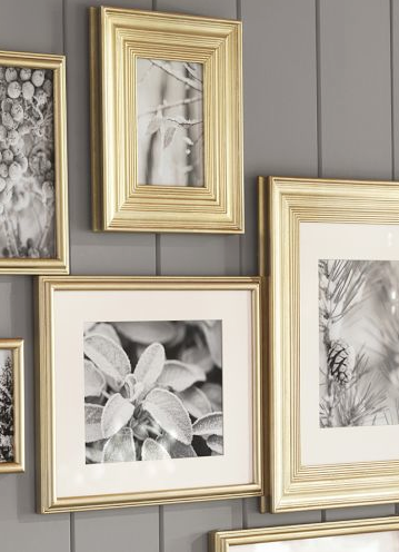 Spray Painted Gold Frames With Black And White Photos On A Grey Wall Yes Please Decor Gold Decor Picture Frame Wall