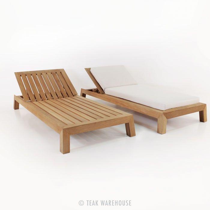 Contempo Teak Chaise Lounge Outdoor Furniture A Grade Sunbrella Fabric Dimensions W34 X L79 H13 W86cm L201cm H33cm