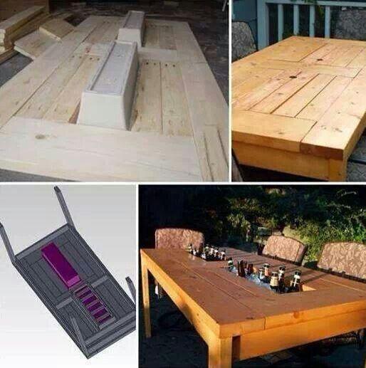 table de jardin avec bac glacons