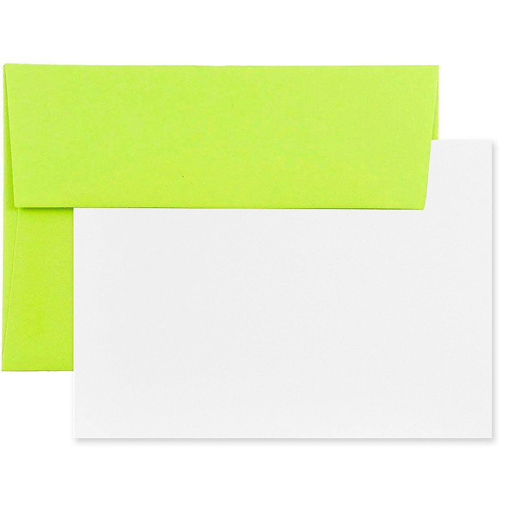 Jam Paper Stationery Set 4 3 4 X 6 1 2 Ultra Lime White Set