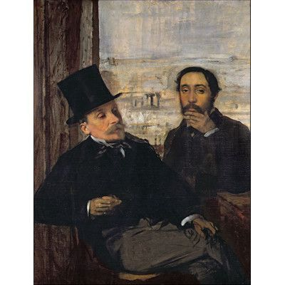 """Trademark Art """"Self Portrait with Evariste"""" by Edgar Degas Painting Print on  Wrapped Canvas Size: 47"""" H x 35"""" W x 2"""" D"""
