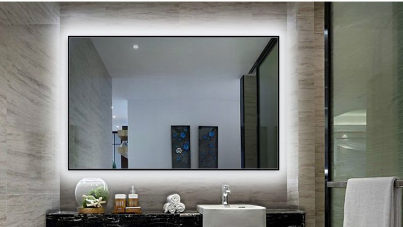 Black Frame Bathroom Mirror With Led Stripe And Sensor Touch Mirror Wall Bathroom Glamorous Bathroom Decor Modern Bathroom Mirrors