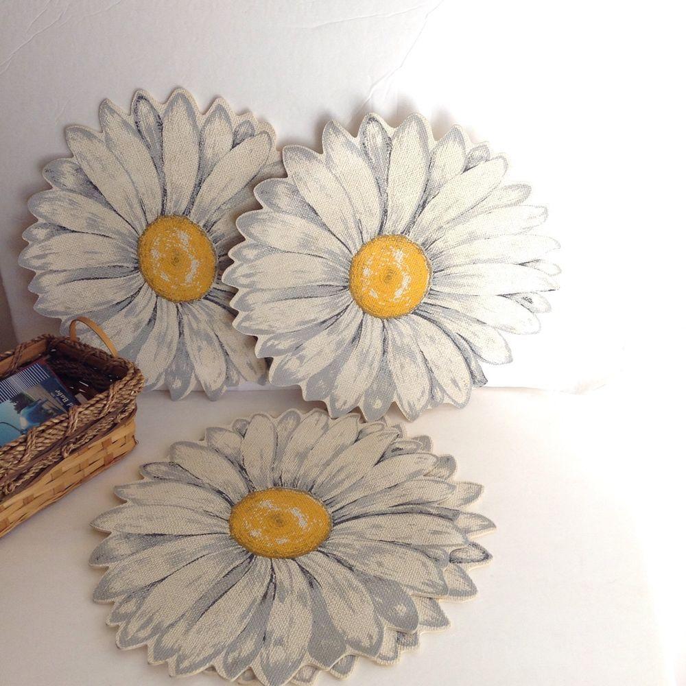 1970u0027s Large Daffodil Daisy Placemats Set Table Decor Kitchen Decor  Textiles 6
