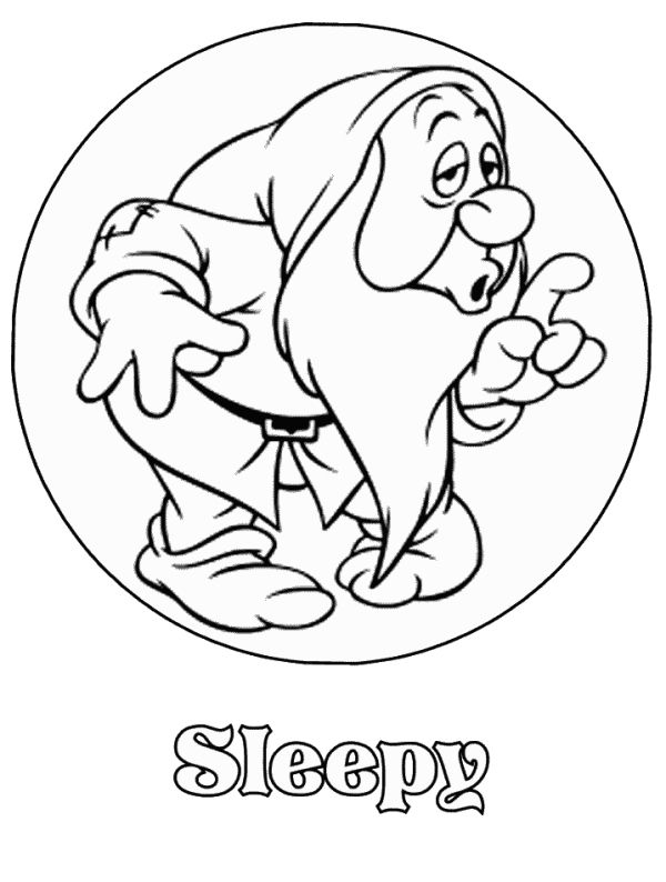 Sleepy Snow White And The Seven Dwarfs Disney Coloring Pages