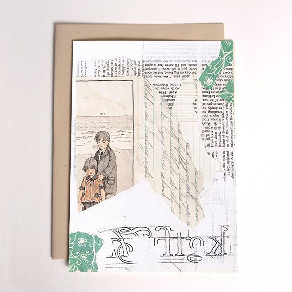 Collage Mixed Media 5x7 Stationery Greeting Card by PaperAlibi, $3.50