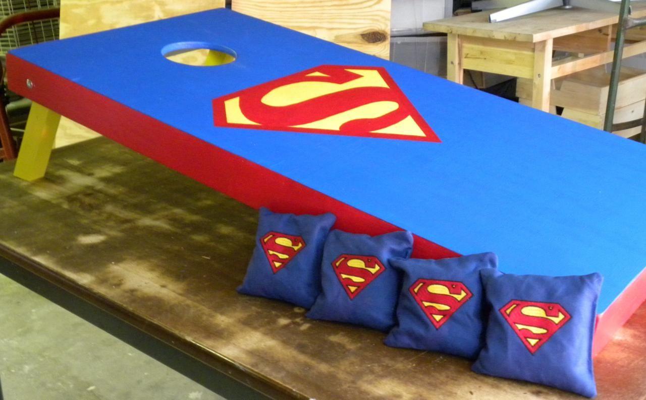 superman cornhole board design