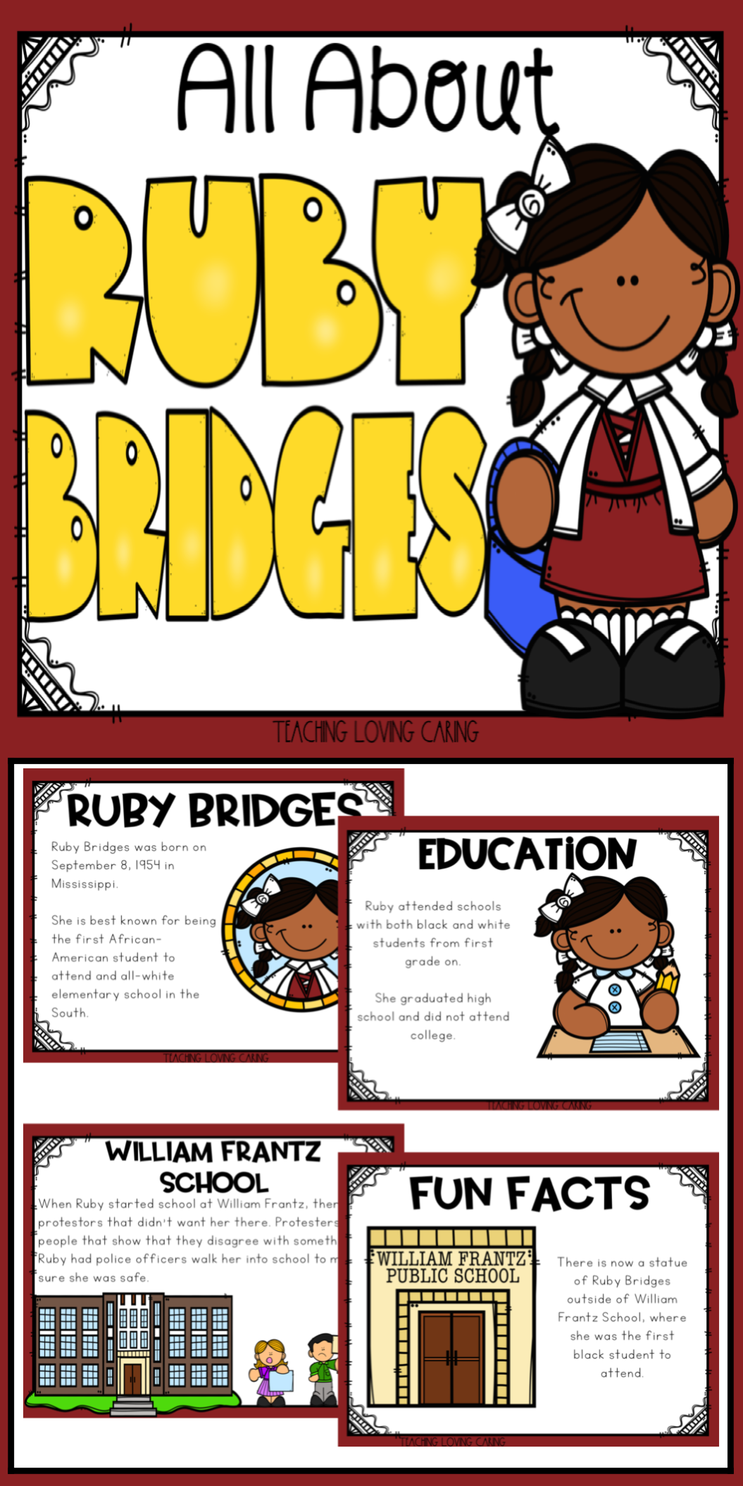 All About Ruby Bridges Use This Kid Friendly Presentation To Teach Your Class All About B Black History Month Activities Ruby Bridges Black History Month Kids [ 2110 x 1055 Pixel ]