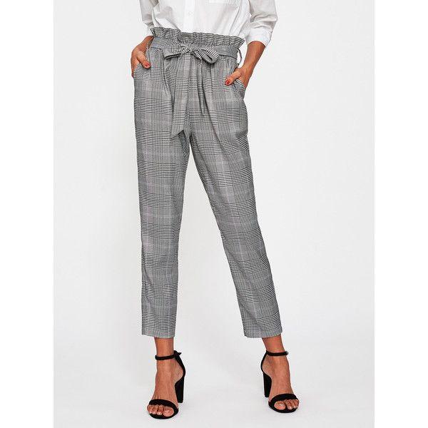 cd598c2eac SheIn(sheinside) Ruffle Waist Self Belt Plaid Peg Pants (€17) ❤ liked on  Polyvore featuring pants, black and white, tartan pants, tie belt, high- waisted ...