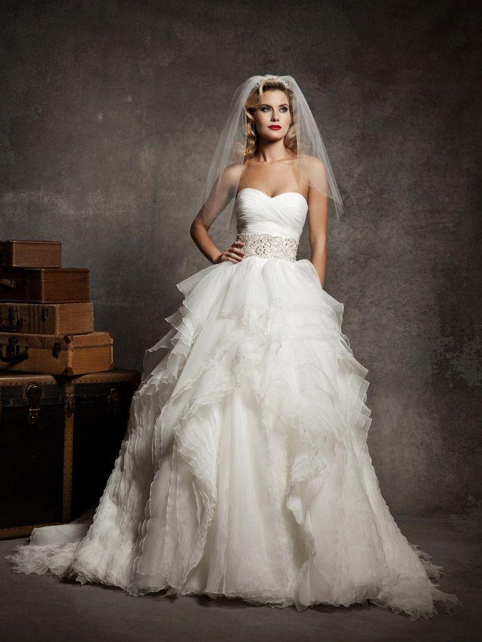Looooooovvvvveeeee Justin Alexander Wedding Dresses Style 8640 Strapless Sweetheart Pleated Asymmetrical Bodice Accented With A Beaded Belt At Natural