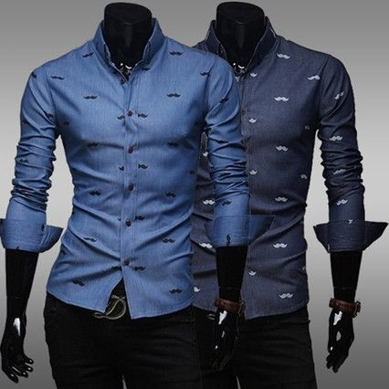 Mustache Print Fashion Men Slim Fit Dress Shirt . Shop Now At http ...