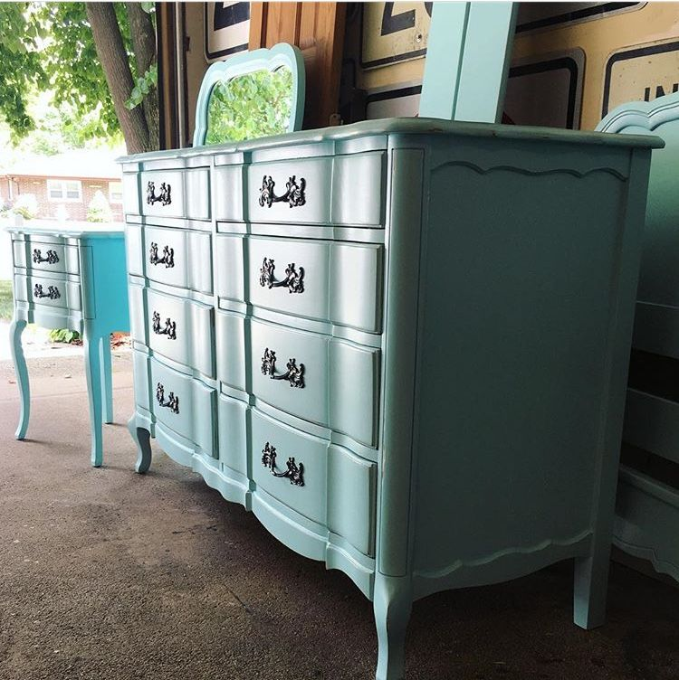 French Provincial bedroom set revived with Sherwin Williams Blue