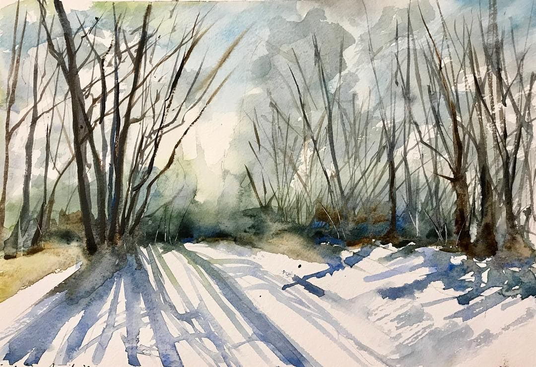 Valerie Mafrica Art On Instagram The Path In Winter Watercolor