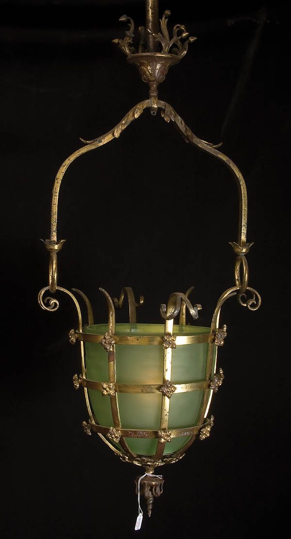 A FRENCH NAPOLEON III GILT BRONZE AND PALE GREEN SATIN GLASS GAS HALL LAMP 19th century, later electrification. Jackson's International Auctioneers and Appraisers