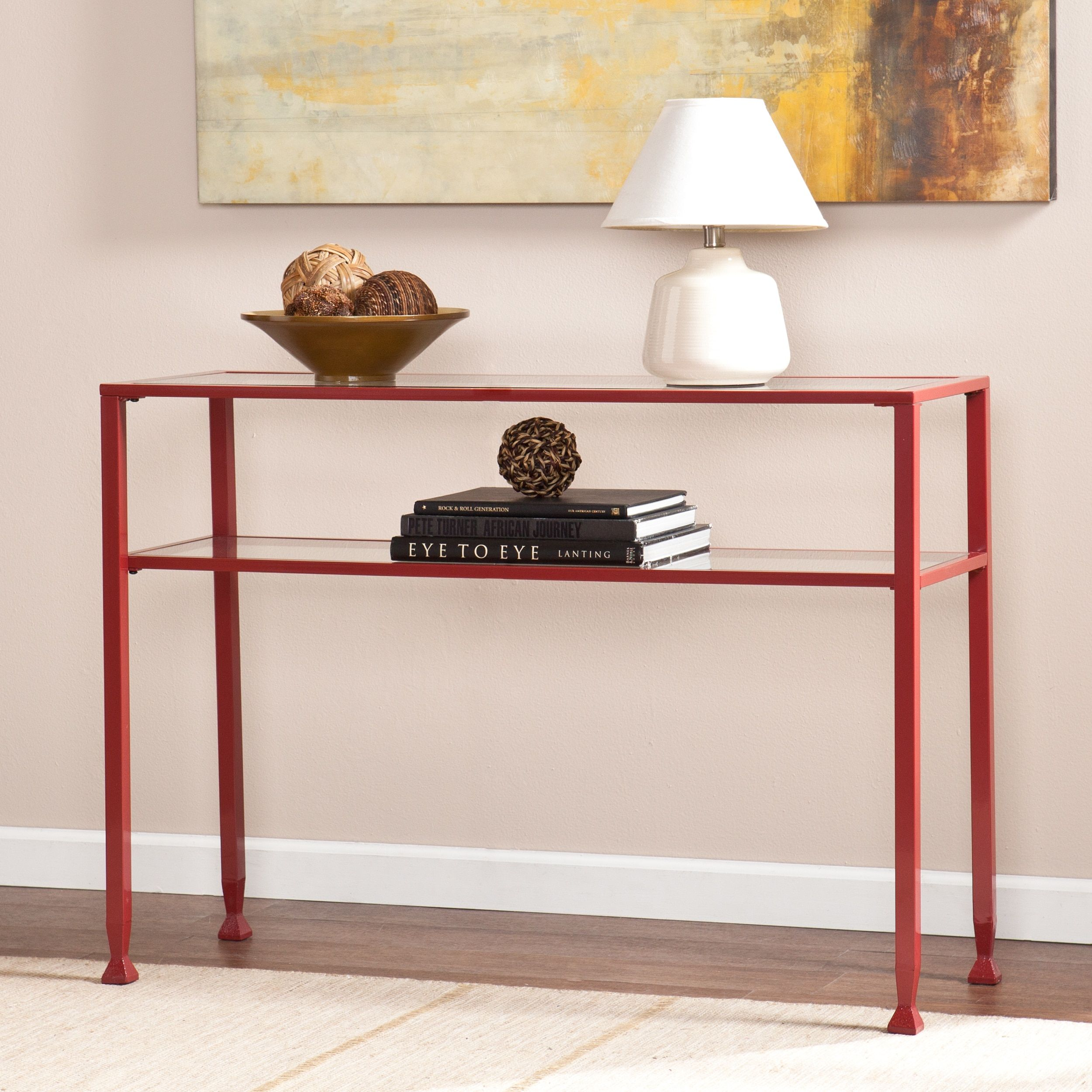 Harper blvd red metal and glass sofa console table 17078415 harper blvd red metal and glass sofa console table 17078415 overstock geotapseo Choice Image