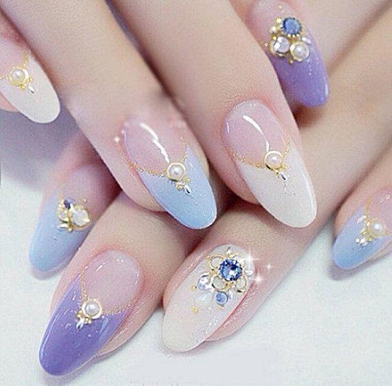 DIY nail art 20pcs/Lot 4mm Metal Edging Pearl Colorful 3D Nail Art Decorations DIY Glitter Nail Tools