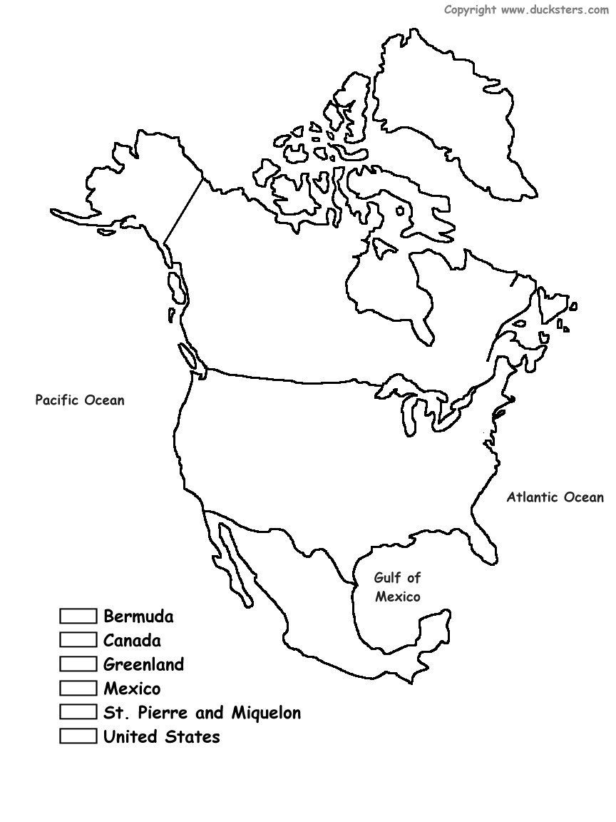 Geography Blog Printable Maps Of North America - Blackline us map