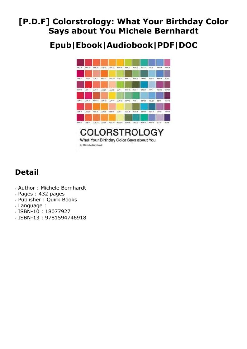 D O W N L O A D Colorstrology What Your Birthday Color Says About You Books My Books It S Your Birthday