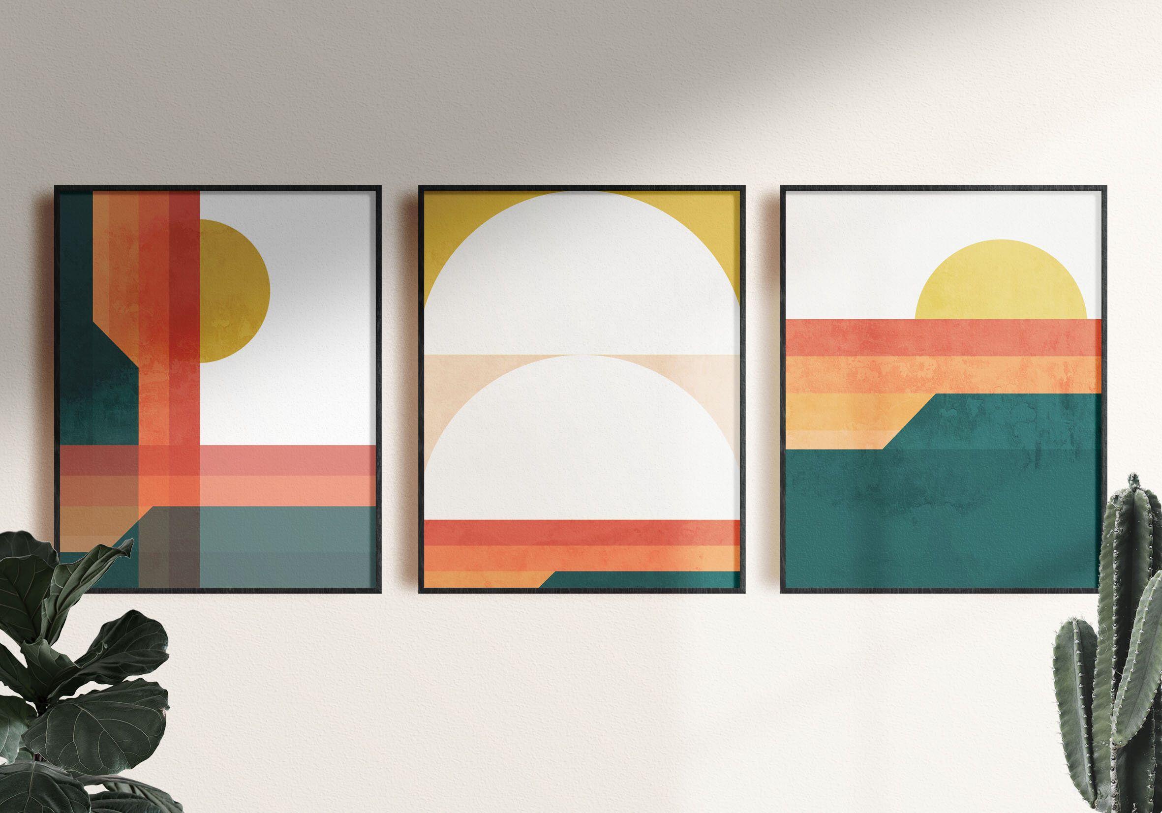 Mid Century Modern Art Abstract Wall Art Set Mid Century Etsy Triptych Wall Art Modern Wall Art Prints Free Printable Wall Art