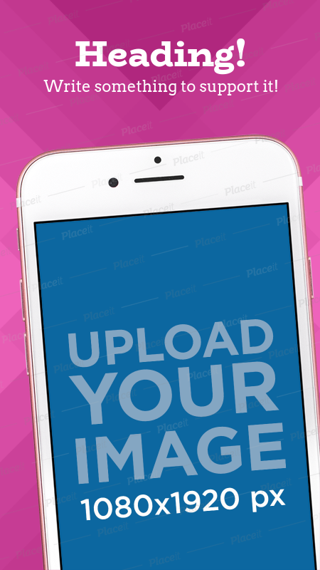 Placeit Mockup Of A Tilted Iphone 7 With An App Screenshot In Portrait Position Pink Iphone Iphone Mockup App Design