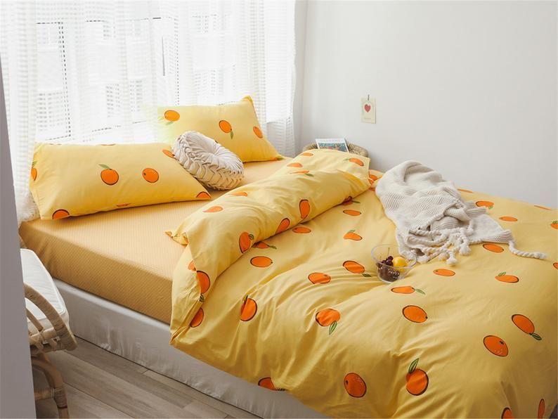 Yellow Duvet Cover Oranges Cotton Doona Cover Set Girls Kids Etsy In 2020 Fancy Bedroom Duvet Covers Yellow Yellow Duvet