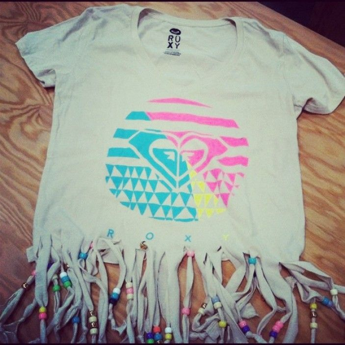 Customize your favorite Roxy tee with fringe and beads!