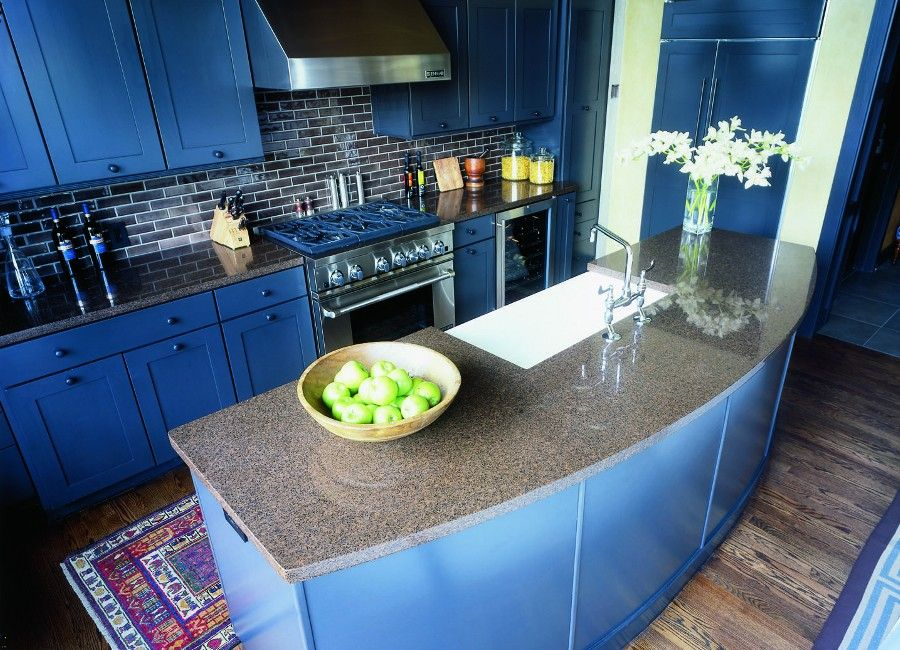 I think this is your island countertop, with blue cabinets ...