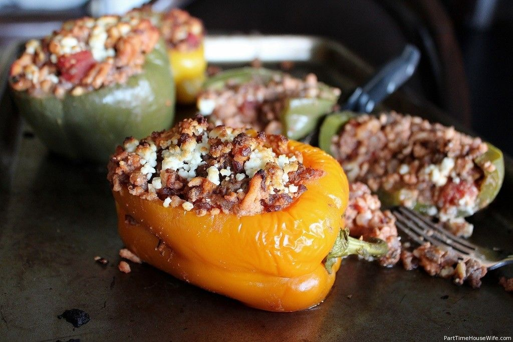 Stuffed Peppers with Rice, Ground Turkey, and Goat Cheese