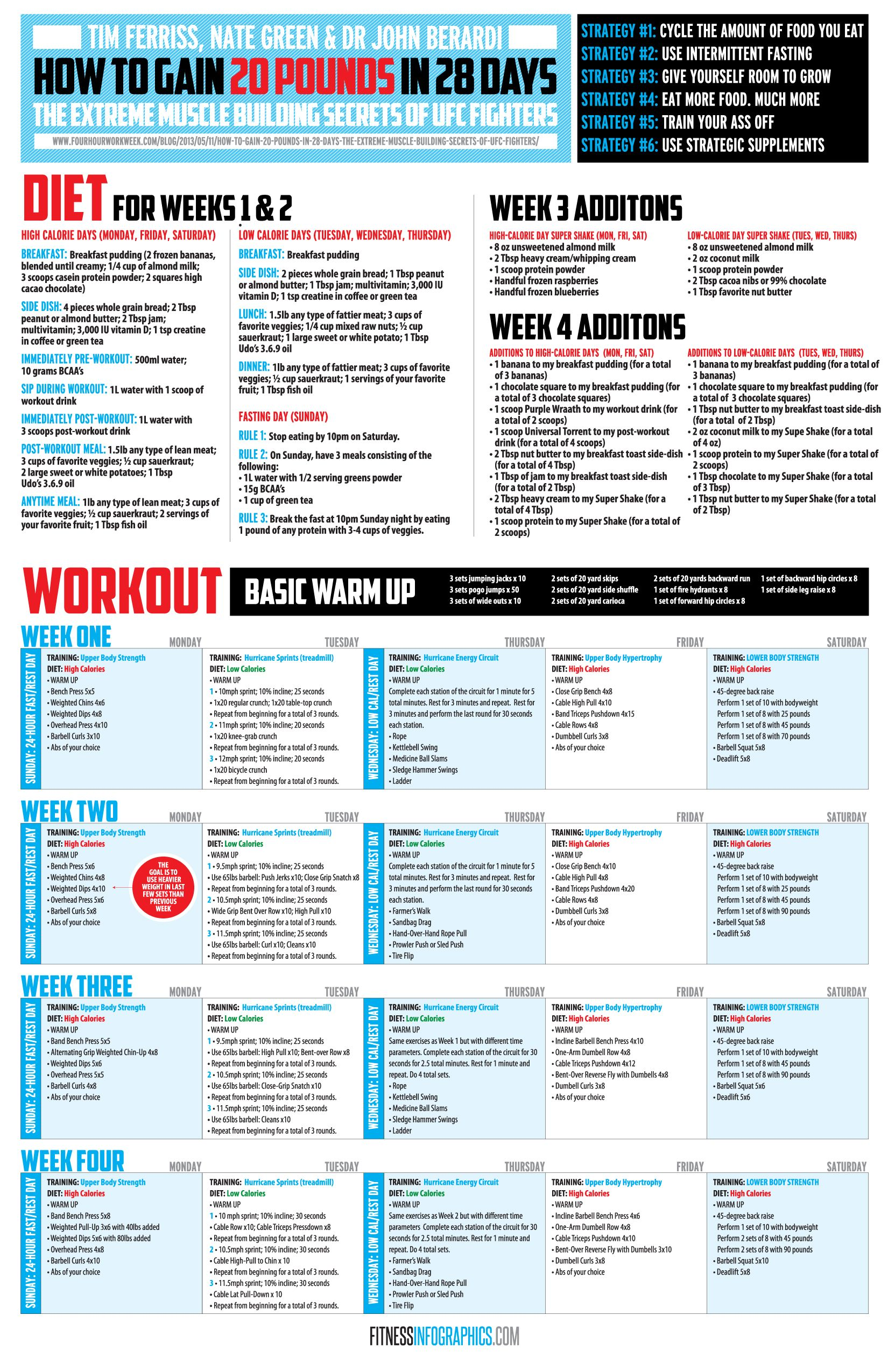 Fitness InfographicsPlans: Gain 20lbs in 28 days - Fitness Infographics