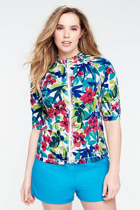 Women's Aquaterra Hibiscus Short Sleeve Zip-front Rash
