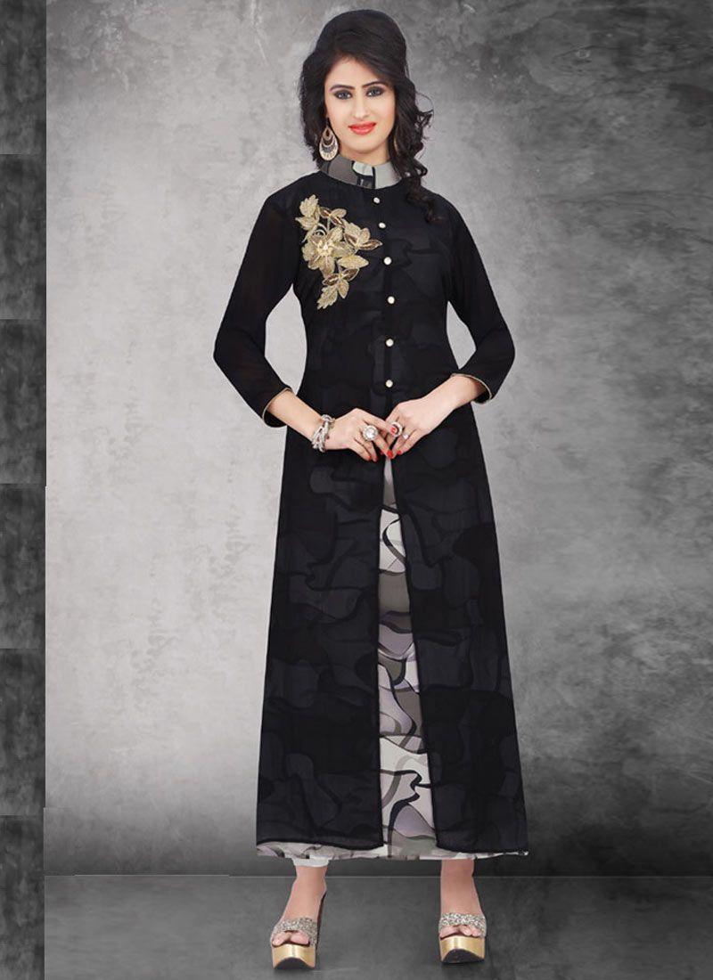 Elegant Black Georgette designer Knee-Long Indian Designer Kurti At Best Prices By Uttamvastra