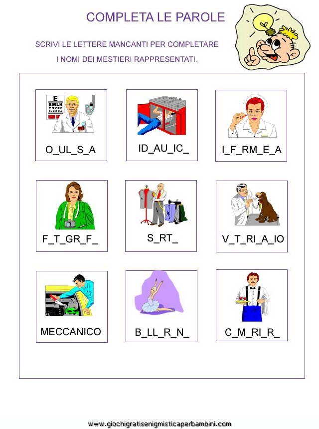 Scheda didattica per la prima elementare italiano school for Schede didattiche autismo