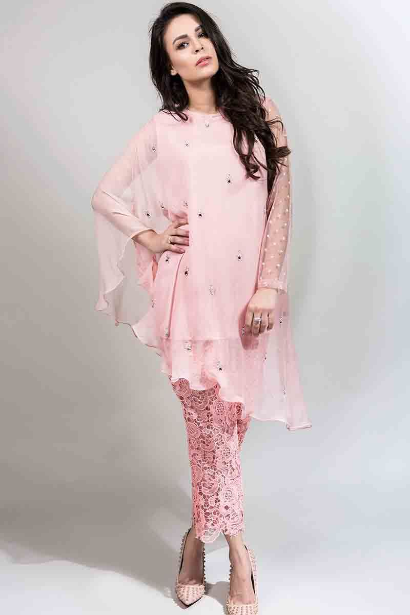 09cc7ae6bf5 latest light pink fancy short shirt with matching trousers latest maria b  fancy party wear eid dresses 2017 with price for girls