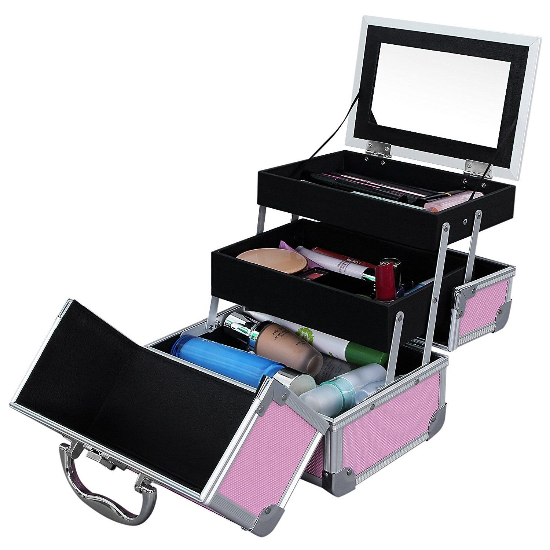 b2a248538 Maletín para Maquillaje 3 Niveles Estuche de Cosméticos con Espejo Marco de  Aluminio ABS en Rosa
