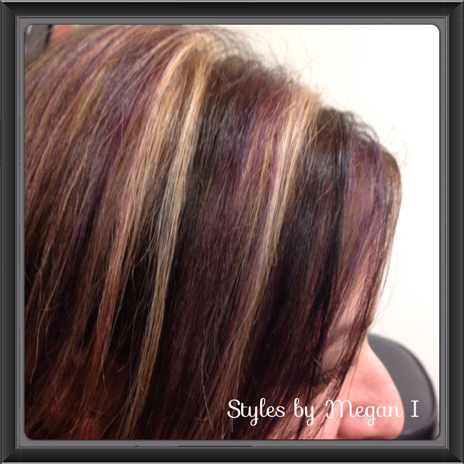 Red Brown And Blonde Highlights Hair Color And Perms Pinterest